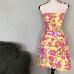 Lilly Pulitzer strapless aline floral dress size 4